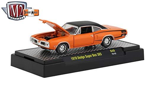M2 Machines 1970 Dodge Super Bee 383 (Orange) - Detroit Muscle Release 48 Castline 2019 Premium Edition 1:64 Scale Die-Cast Vehicle & Custom Display Base (R48 19-22)