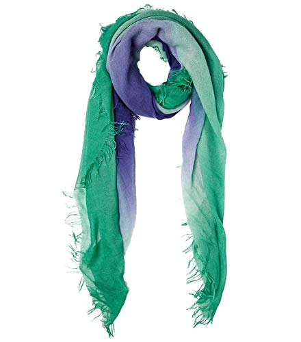 Chan Luu Cashmere and Silk Dip Dyed Scarf in Green and Medieval Blue ()