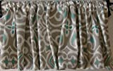 Cheap Valance Gray with Teal Turquoise and White Window Topper Curtain Decorator Fabric