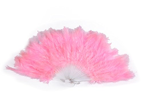 [Belly Dance Accessories Feathers Fan Veil Costume light pink] (Dance Fans Costumes Accessories)