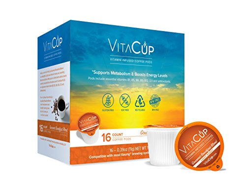 VitaCup Gourmet Breakfast Coffee K Pods 16 Ct. Infused With Essential Vitamins B12, B9, B6, B5, B1, and D3, Single Serve Keurig Compatible Top Rated Cups