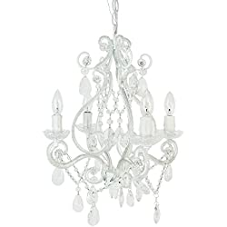 4 Bulb Mini Chandelier - White Diamond