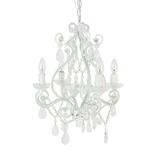 Tadpoles 4-Bulb Vintage Plug-In or Hardwired Mini-Chandelier, White Diamond from Tadpoles