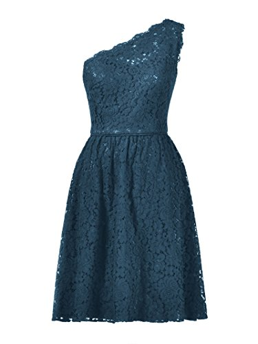 2017 Blue Short Alicepub Evening Prom Floral Lace Bridesmaid Dress Ink Shoulder Gown One 7q1w7vT