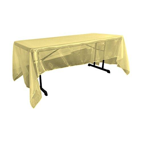 LA Linen Sheer Mirror Organza Rectangular Tablecloth 60 by 144 inch, Gold by LA Linen
