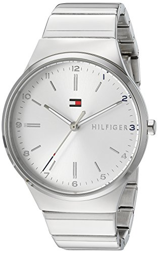 (Tommy Hilfiger Women's Sophisticated Sport Quartz Watch with Gold-Tone-Stainless-Steel Strap, Silver, 18 (Model: 1781797))