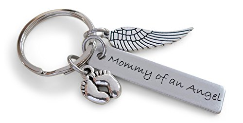 Mommy of an Angel Engraved Keychain, Baby Memorial Keychain, Wing Charm and Baby Feet Charm ()