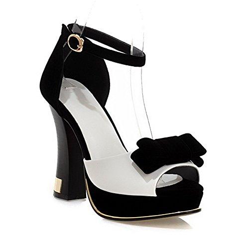 AgooLar Women's Buckle Peep Toe High-Heels PU Assorted Color Sandals White ejKIZABq42