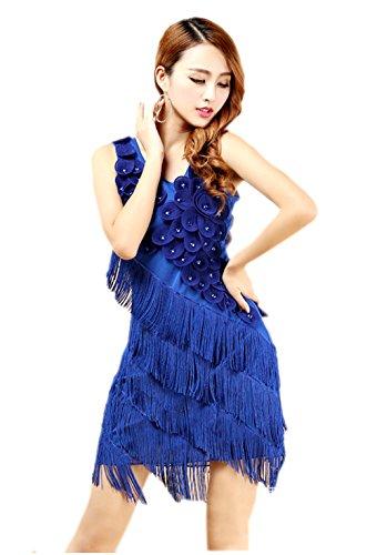 [Honeystore Women's 1920s Flower Embellished Fringed Latin Dance Dress Royal Blue] (Dancesport Standard Costume)