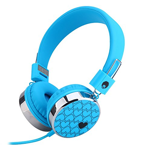 Rockpapa Love Foldable On Ear Headphones Adjustable Headband with 3.5mm Jack, Love Heart Earphones for Kids Children Toddler Teens Age 3-15 Blue