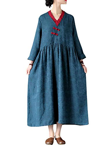 47914053aa9 BUYKUD Women Vintage Loose Cotton Linen Chinese Style Long Dresses(L ...