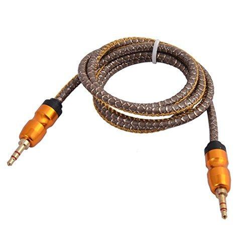 DealMux PU Início aparelhos de som portátil 3,5 mm macho para macho Cobra Stripes Áudio Cabo de Extensão 1m de comprimento Grey ()