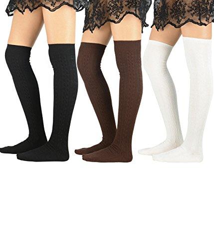 Zando Women Soft Elegant Cotton Knitted Over Knee Tights Socks Long Cute Thigh High Stocking 3 Pairs Black White Coffee
