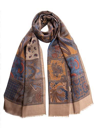Elizabetta Men's Italian Lightweight Printed Wool Scarves (Salerno Tan)