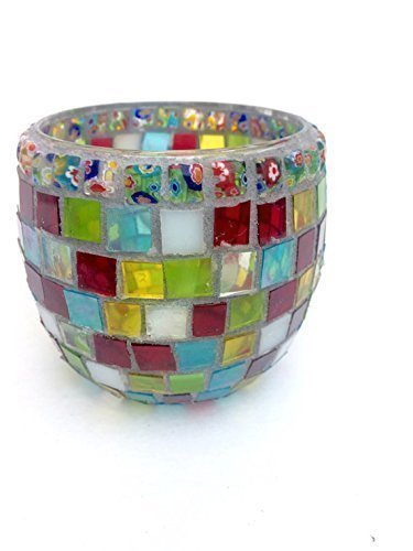 Mosaic Candle Holder, Festival Nights, Stained Glass Votive with Flower Pattern Beads