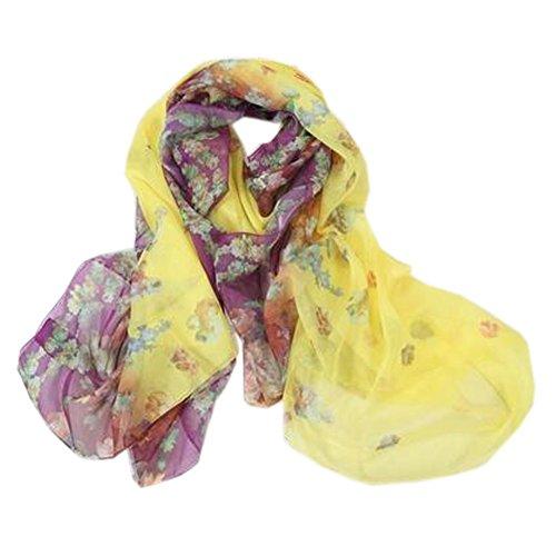 簡単に負担合法女性の女性の暖かいロングスカーフ薄いフラワースカーフネッカーコフネックウォーマー、カラフルなパープル