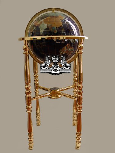 - Unique Art 36-Inch by 13-Inch Floor Standing Blue Lapis Gemstone World Globe with Gold 4-Leg Stand