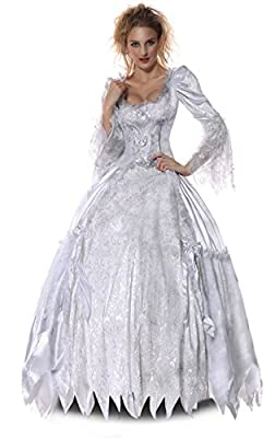 Kimring Women's White Queen Halloween Costume Role Play Deluxe Dress