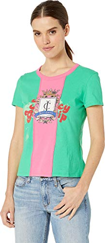 Juicy Couture Women's Juicy Spliced Crest Graphic Tee Kelly Green/Lotus Petite/X-Small
