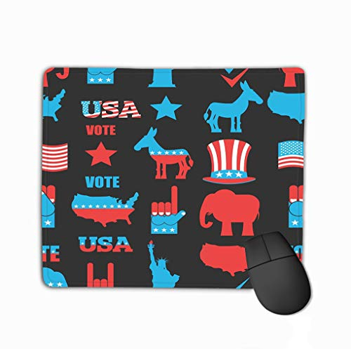 Mouse Pad American Elections Republican Elephant dem Democratic Donkey Ornament Symbols Political Parties America Refreshing Rectangle Rubber Mousepad 11.81 X 9.84 Inch