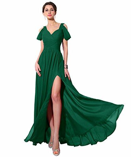V Langes Ballkleider Chiffon Damen 36 Grun ärmellos für Burgundy Linie Elegantes Ausschnitt A Abendkleid cRaUfU