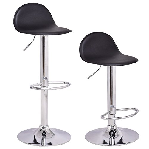COSTWAY Set of 2 Modern Swivel Chrome Barstools Adjustable Hydraulic Lift Chair Bar Stool Home Diner PU Leather Seat Multi-Color