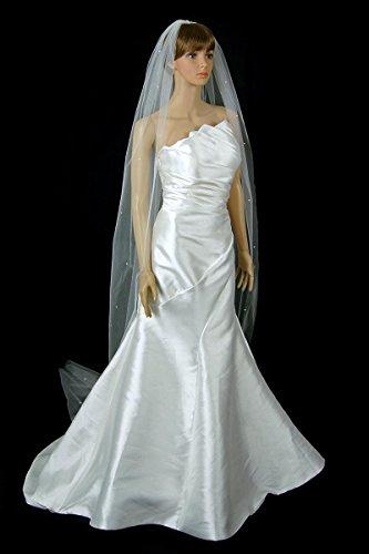 Bridal Wedding Veil 1 Tier Ivory Cathedral Length Scattered Rhinestone Cut Edge by Velvet Bridal Velvet Veil