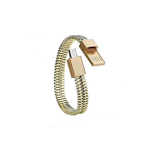 Wristband Micro USB Cable High Speed Syncing and Charging Bracelet Data Cord 5V-2A for Android Smartphone in ABS (Golden)