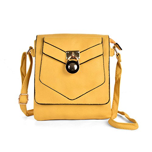SALLY YOUNG Fashion Women High Quality PU Leather Lock Detail Boxy Cross Body Bag With Strap Yellow