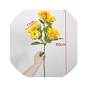 5 Heads Sunflower Artificial Flower for Home Wedding Party Garden Decoration Fake Flower Autumn Sunflower Silk Flower,A 85