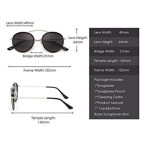 Redondas Anteojos Espejo Círculo Gris Sol Sombras Negro Gradiente Metal Gafas de Retro Mujer Hombre Plano 1qwx440