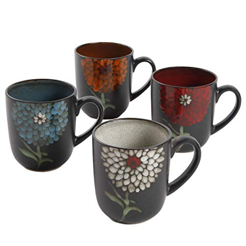 Gibson Home Gardenia Cafe 4 Pack 16oz Mugs, Assorted ()
