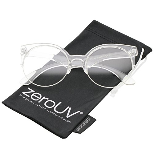 zeroUV - Modern Translucent Frame Round Clear Lens Semi-Rimless Eyeglasses 54mm (Clear / - Translucent Glasses