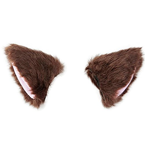 BAOBAO Cat Fox Long Fur Ears Hair Clip Headwear Cosplay Halloween Costume (Brown&Pink) -