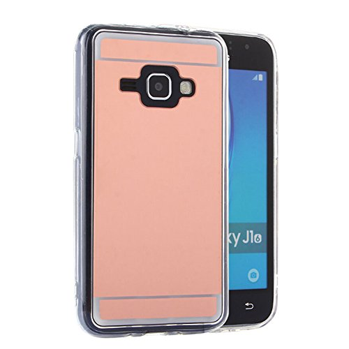 AENMIL Acrylic & TPU Plating Mirror Phone Case for Samsung Galaxy J3 Version 2016, Drop Resistant Protective Cover, Shockproof Dust-proof Shell for Samsung Galaxy J3 - Rose Gold