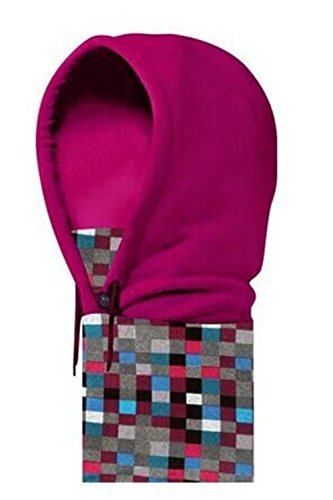 Super Warm Flannel Thickening Wind Protection Ear Caps Hat/Men and Women Snowflake & Plaid Hat (rose red grating)