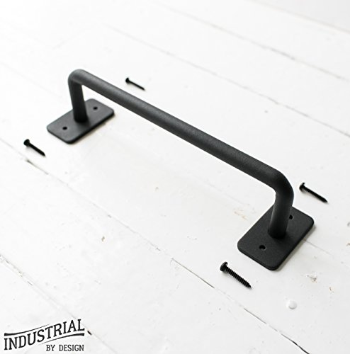 Industrial By Design - Barn Door Handle - 10.25in x 2.5in - Heavy Duty Steel, Powder Coated Black Finish - Includes 4 Installation Screws, - Industrial Coated Thin