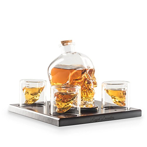 Amber Glass Decanter (Skull Shaped Glass Whiskey and Liquor Decanter Set - The Perfect Gift Includes 4 Double Walled Skull Shot Glasses - Also for Brandy Tequila Bourbon Scotch Rum -Alcohol Related Gifts for Dad (750ML))