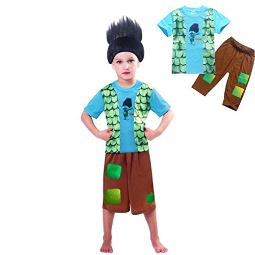 Kids Boys 4-10yrs Trolls Branch Fancy Cosplay Custom Outfit Set (7-8 years(Tag size 130))