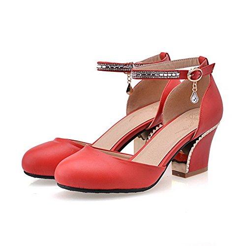 Allhqfashion Women's Buckle Round Closed Toe Kitten-Heels PU Solid Sandals Red WSarK