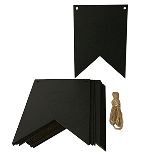 Yeefant 16 PCS Wooden Chalkboard Pull Flower Flag Long String Banners Wooden Blackboard,Black, 7.1x5.1x1.3 Inch