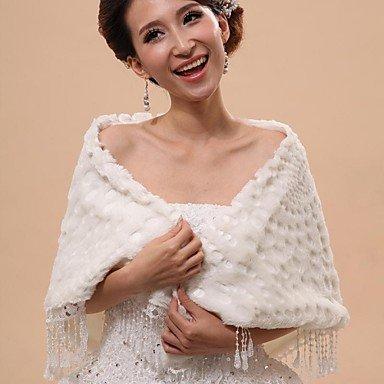 Abrigos de novia piel chalecos / campanas y Ponchos Capelets sin mangas imitación piel blanca apagado