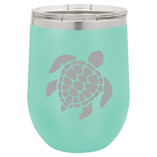 (12 oz Double Wall Vacuum Insulated Stainless Steel Stemless Wine Tumbler Glass Coffee Travel Mug With Lid Sea Turtle (Teal))