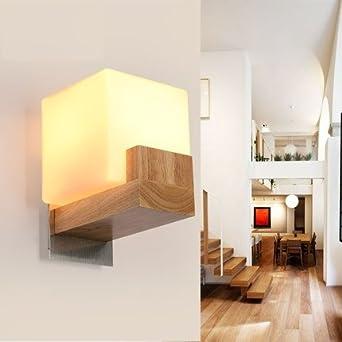 Wandleuchte Einfache Holz Glas Wandleuchte Moderne Led Wand Leuchten
