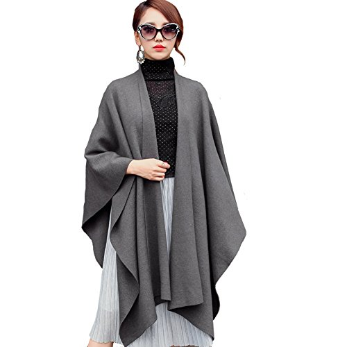 Ysiop Women Knit Wraps Big Size Pashmina Cappa Worm Tippet Grey