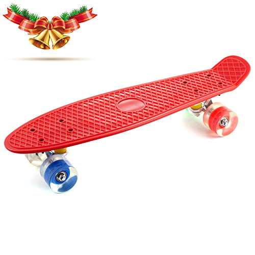 "CCTRO 22"" Complete Skateboards, Cruiser Skateboard Mini Banana Board for Kids Boys Youths Beginners, 220 Ibs"