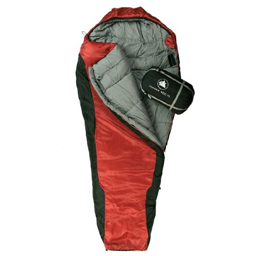 10T Innoko 400 M Single Mummy Sleeping Bag 200 x 85 x 55 CM Black / Red, Winter up to 33°C
