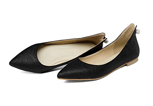 VogueZone009 Women's Closed-Toe Pull-On Microfibre Solid Low-Heels Pumps-Shoes Black NW3Dt1akXm