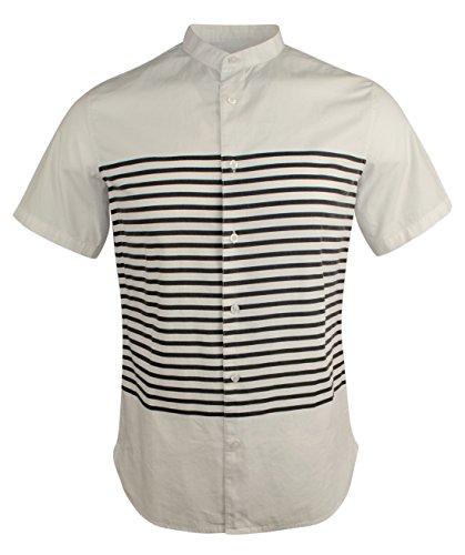 Armani Jeans Men's Sailor Stripe Short Sleeve Shirt-WN-XL White/Navy