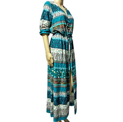 Tunica Verde Party Vestito Binmer Beach Lungo Sexy Bohemien Donne Estate Floreale tm Maxi Sole 00qwT1OI